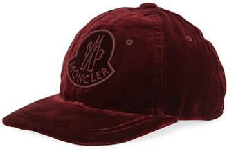 b83f1b1e4f1 Moncler Velvet Baseball Cap w  Logo Patch