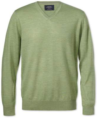 Charles Tyrwhitt Light Green Merino Wool V-Neck Sweater Size Large