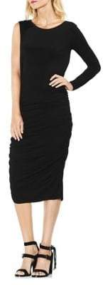 Vince Camuto Asymmetrical One-Sleeve Side Ruched Midi Dress