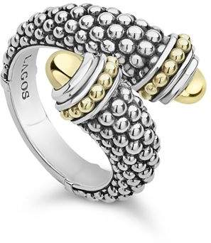 Lagos 18K Yellow Gold & Sterling Silver Signature Caviar Crossover Ring