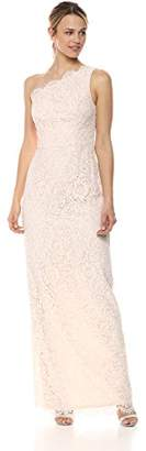 Adrianna Papell Women's One Shoulder Metallic Corded lace Column,8