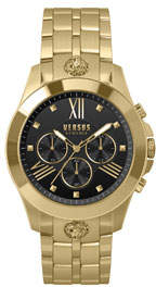 Versace Men's 44mm Chronograph Watch w/ Bracelet Strap, Steel Gold