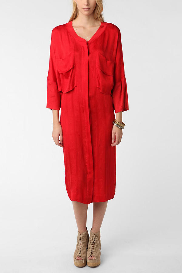 Urban Outfitters Vintage '80s Perla Silk Shirt Dress