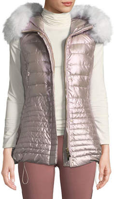 Gorski Horizontal-Quilted Puffer Apres-Ski Vest w/ Fox-Fur Trim