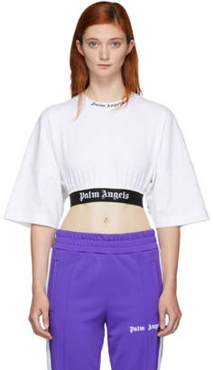 Palm Angels White Cropped Logo T-Shirt