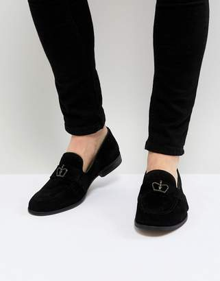 Asos Loafers In Black Suede With Crown Snaffle