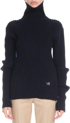 Victoria Beckham Turtleneck Long-Sleeve Ribbed Wool Sweater