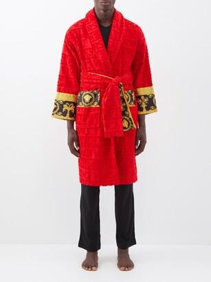 Versace I Love Baroque Logo Jacquard Cotton Bathrobe - Mens - Red