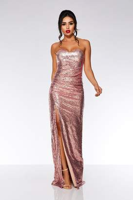 Quiz Red Sequin Strapless Split Maxi Dress