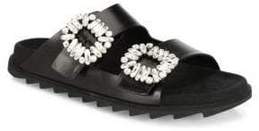 Roger Vivier Viv Crystal-Buckle Leather Slides