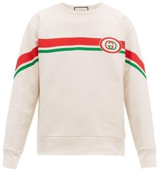 Gucci Web Striped Gg Print Cotton Sweatshirt - Mens - White