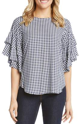Karen Kane Ruffle-Sleeve Gingham Top