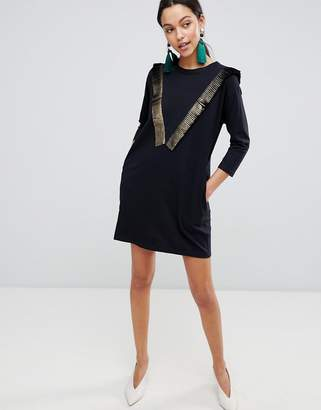 Traffic People Long Sleeve T-Shirt Dress With Fringed Detail