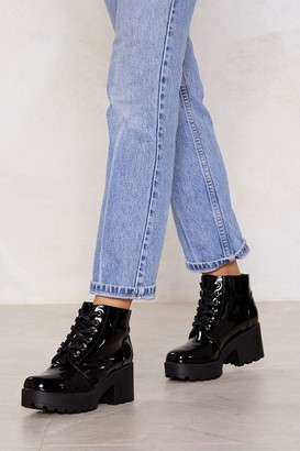Nasty Gal Patent On You Lace-Up Boot