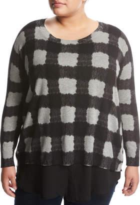 Zero Degrees Celsius Plus Georgette-Trim Plaid Sweater, Gray Pattern, Plus Size