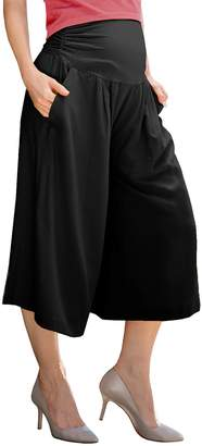 Sweet Mommy Maternity Women's Elastic Wide Leg Culottes Pants M