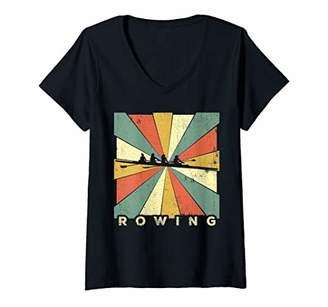 Womens Vintage Rowing Sport Retro Gift V-Neck T-Shirt