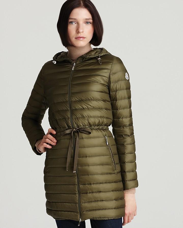 Moncler Aure Lightweight Mid-Length Down Coat