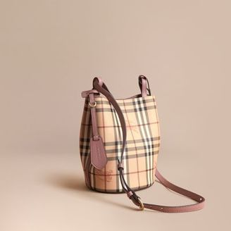 Burberry Leather and Haymarket Check Crossbody Bucket Bag $850 thestylecure.com