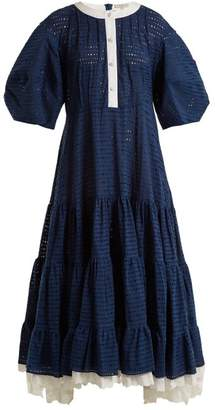 Natasha Zinko Broderie Anglaise Puff Sleeved Cotton Dress - Womens - Navy