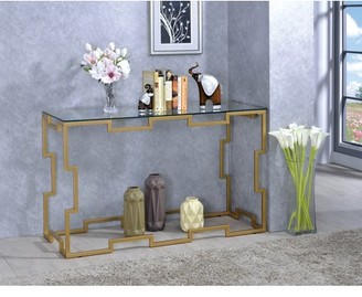 Furniture of America Paola Gold Glass Top Console Table