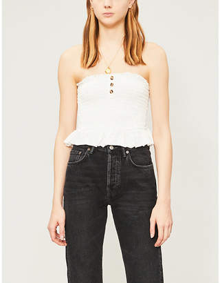Free People Buttoned strapless cotton bandeau top