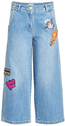 Kenzo Cropped Wide-Leg Jeans with Badges
