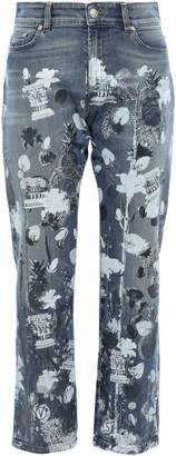 Versace Cropped Metallic Printed High-rise Straight-leg Jeans