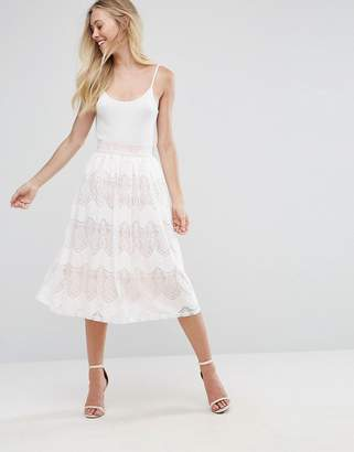 Oh My Love Lace Pleated Midi Skirt