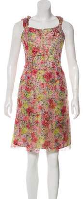 Christian Lacroix Silk Floral Dress Pink Silk Floral Dress