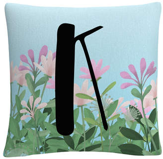 """Trademark Global Pink Floral Garden Letter Illustration 16x16"""" Decorative Throw Pillow by Abc"""