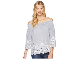 Tribal Yarn-Dye Stripe Off Shoulder Top with Embroidered Detail Women's Long Sleeve Pullover