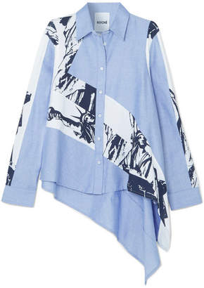 Koché - Oversized Asymmetric Cotton-chambray And Printed Poplin Shirt - Light blue