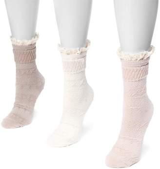 Muk Luks Women's 3 Pair Pack Lace Top Boot Socks
