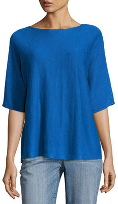 Eileen Fisher Bateau-Neck Organic Linen Box Top $148 thestylecure.com