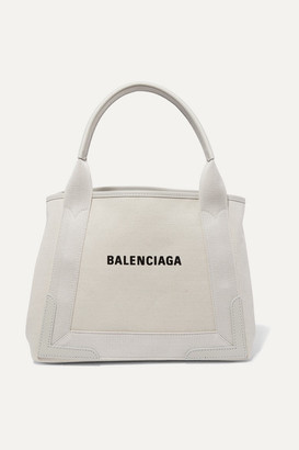 Balenciaga Cabas Small Leather-trimmed Canvas Tote - Beige
