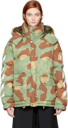 Off-White Green Camo Down Diagonal Jacket