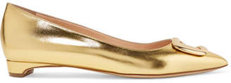 Bedfa Metallic Leather Point-toe Flats - Gold