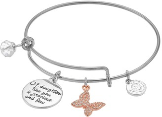 Love This Life love this life Two Tone Daughter Charm Bangle Bracelet