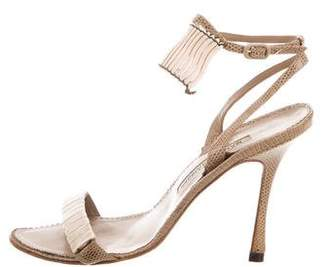 Manolo Blahnik Lizard Ankle Strap Sandals