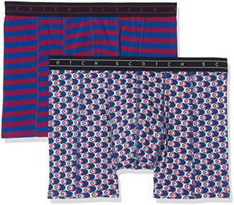Scotch & Soda Men's Boxer Short in Colourful All-Over Print & Stripe,Pack of 2