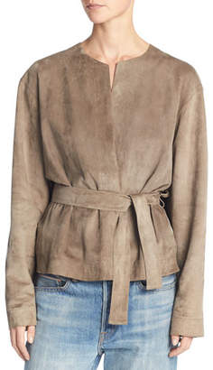 Vince Lamb Suede Belted Jacket, Brown $1,475 thestylecure.com