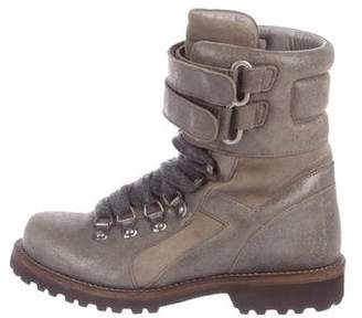 Brunello Cucinelli Metallic Suede Ankle Boots