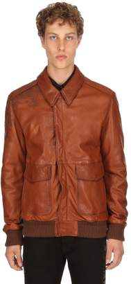 Etro Laser-Printed Vintage Leather Bomber