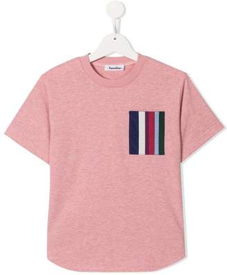 Familiar striped pocket T-shirt