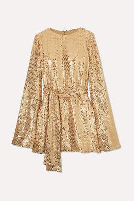 Caroline Constas Anya Sequined Georgette Mini Dress - Gold