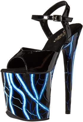 Pleaser USA Women's Flam809nlb/b/b-nbl Platform Sandal, Black/Neon Blue