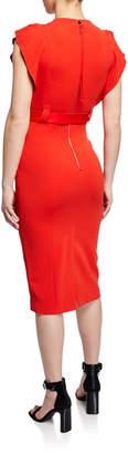 Karen Millen Belted Flutter-Sleeve Midi Dress