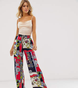 Outrageous Fortune wide leg pant in red scarf print