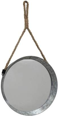 STONEBRIAR COLLECTION Large Suspended Round Galvanized Mirror with Rope